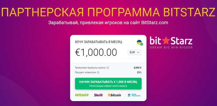 Партнерская программа Bitstarz Casino